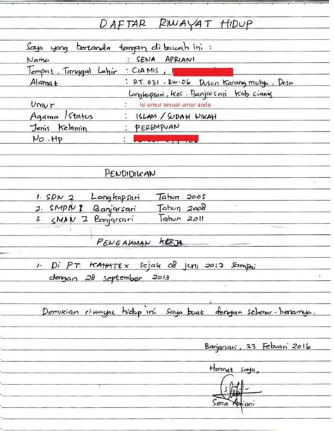 contoh formulir daftar riwayat hidup kosong contoh daftar riwayat hidup tulis tangan yang baik dan