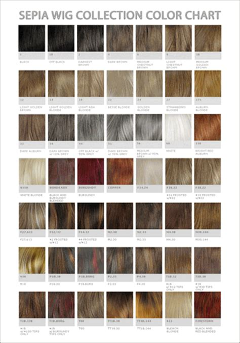 wig color chart sepia wig collection color chart