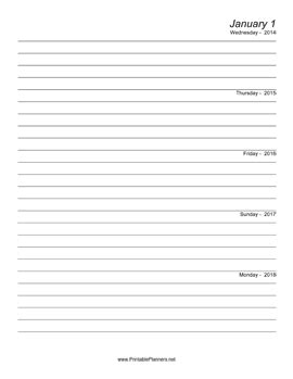 printable 5 year journal five year journal starts 2014