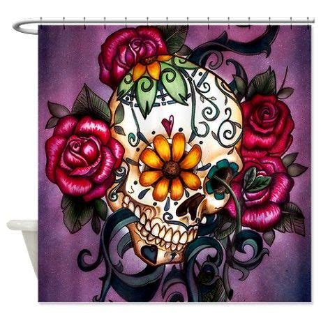 sugar skull curtains sugar skull shower curtain for the home pinterest