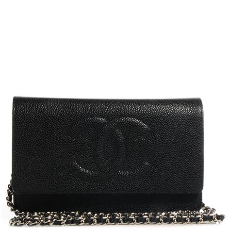 chanel caviar timeless cc wallet on chain woc black 65507