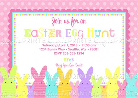 Come With Me Easter Invites by Easter Bunny Printable Invitation Dimple Prints Shop