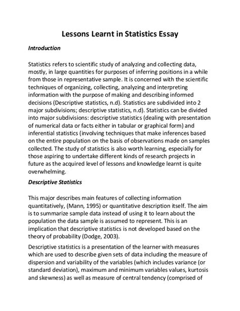 Lessons learnt in statistics essay