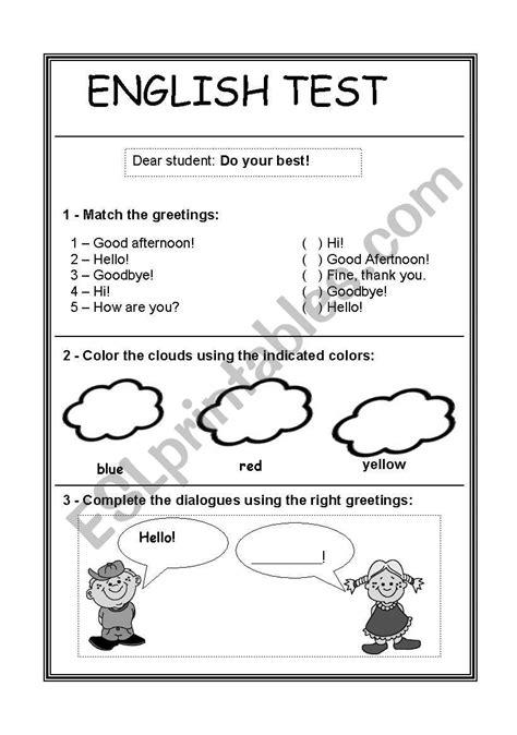 Easy english test - ESL worksheet by teacher drica