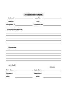 completion form template best photos of completion report template