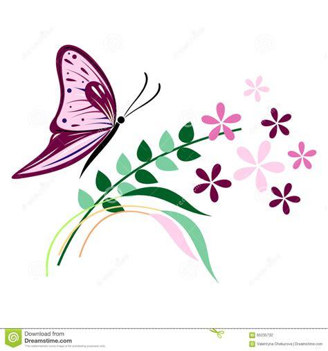 rami e fiori vector l illustrazione dell insetto della farfalla viola