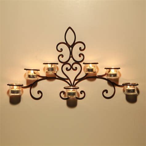 adeco iron and glass horizontal wall hanging candle holder