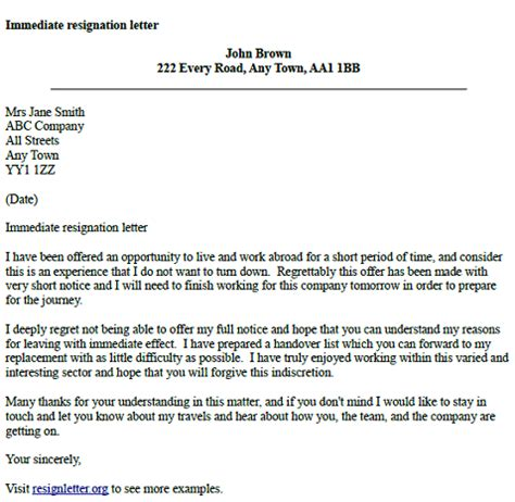 immediate resignation letter exle resignletter org