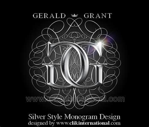 elegant logo design photoshop silver style monogram with chrome lettering clik