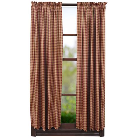 Burgundy Check Curtains Ninepatch Burgundy Check Lined Curtain Panels 63 Quot X 36 Quot