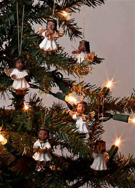 set of 6 miniature african american angel ornaments