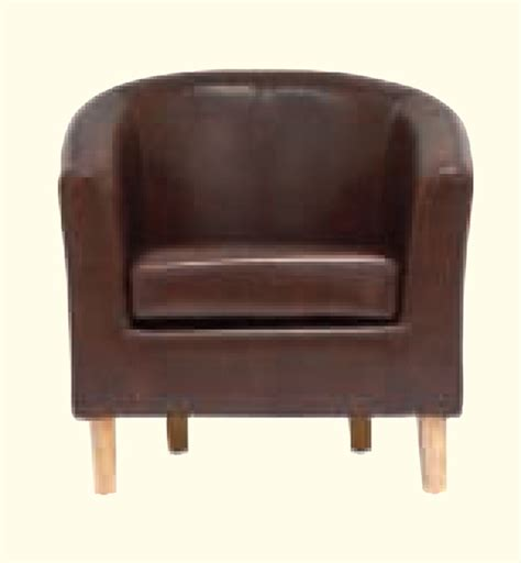Brown Faux Leather Chair by Oxford Antique Brown Faux Leather Chair
