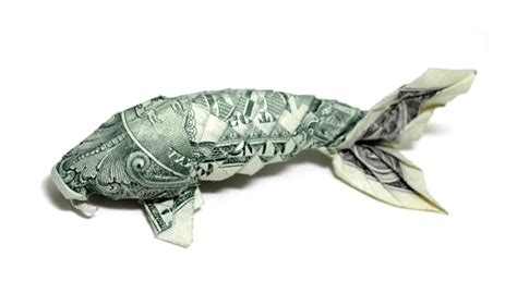 Origami Fish Money - carp from the dollar