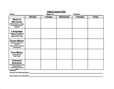 Preschool Lesson Plan Template Beepmunk Exle Lesson Plan Template