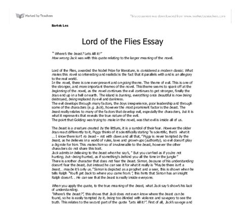 Lord Of The Flies Essay by Lord Of The Flies Gcse Essays