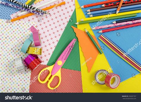 Papercraft Products - arts craft supplies color paper pencils stock photo