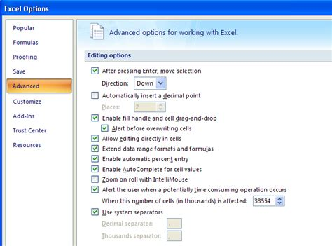 format option in ms excel 2007 change edit options cell edit 171 editing 171 microsoft