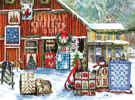 holiday quilts  pieces sunsout puzzle warehouse