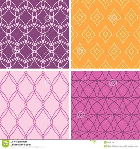 vector pattern matching four abstract wire shapes seamless patterns set