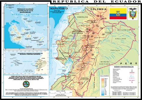 physical map of ecuador physical map of ecuador 1999 size