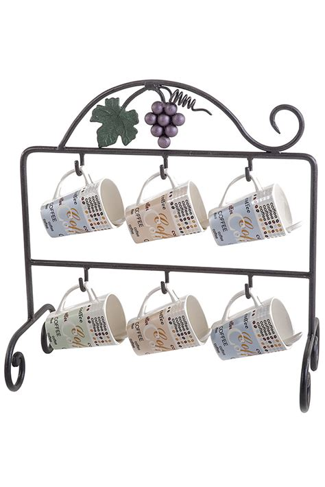 Marble Top Kitchen Islands mug holder for six mugs with leaves and grapes porta