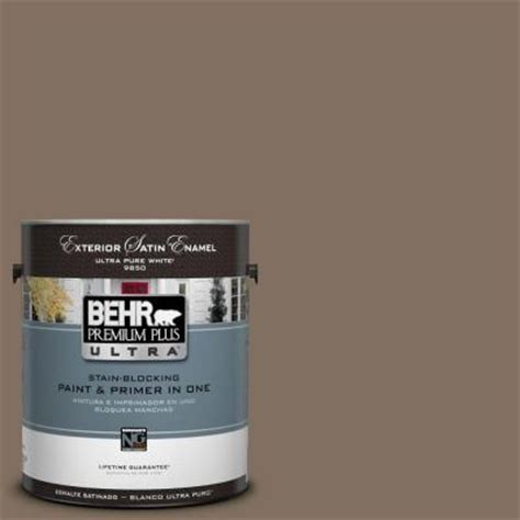 behr premium plus ultra 1 gal ul160 21 mocha latte satin enamel exterior paint 985301 the