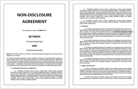 non disclosure agreement sle non disclosure agreement word template 28 images 12