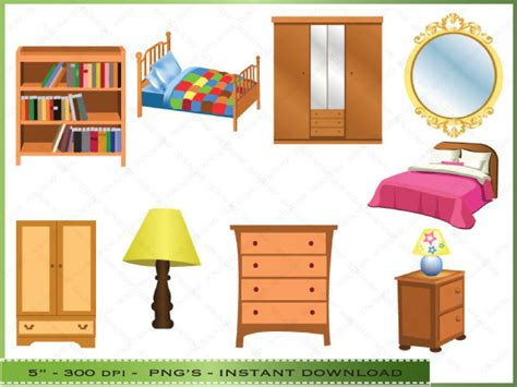 bedroom clip art furniture clipart clip art of bedroom by digitalclipartstore
