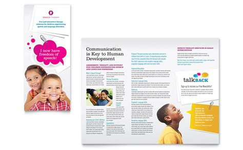 speech therapy education tri fold brochure template design