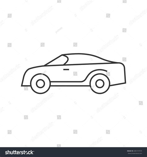 Outline Style Auto by Car Icon Thin Outline Style Sedan Stock Vector 485747575