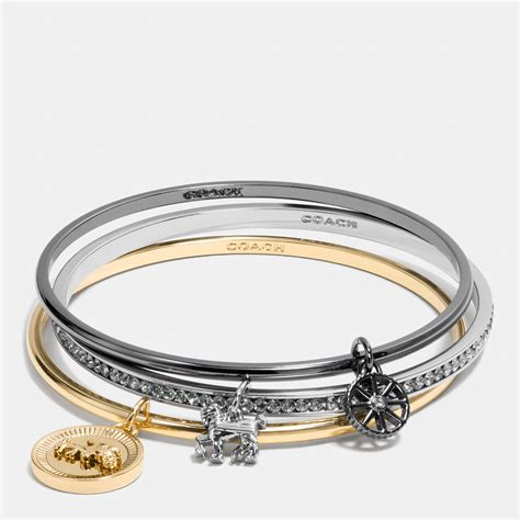 Cool Coach Jewelry by Coach And Carriage Coin Mix Bangle Set In Metallic