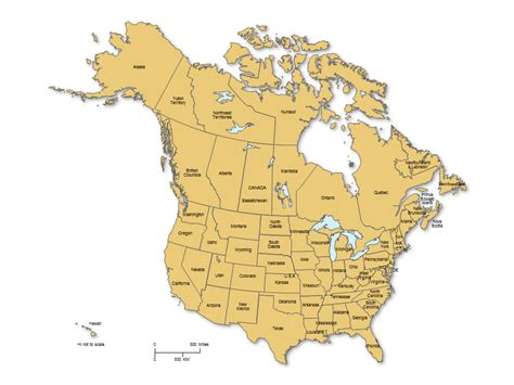 map usa canada usa and canada powerpoint map with states provinces