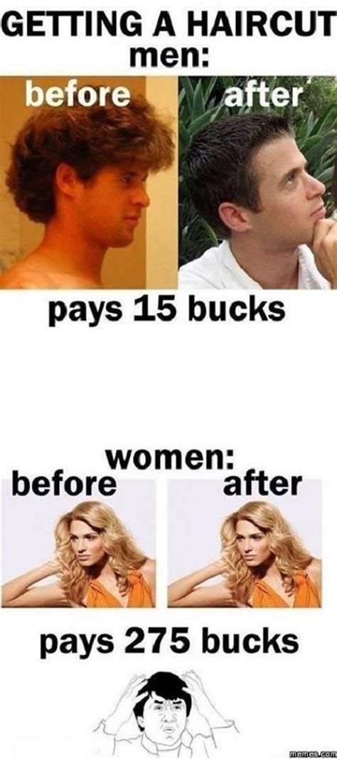 Men And Women Memes - getting a haircut men vs women jokes memes pictures
