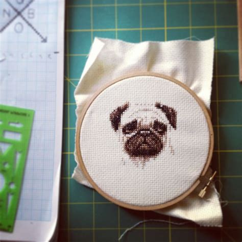 pug cross stitch pug cross stitch by joanna flamia learning to cross stitch