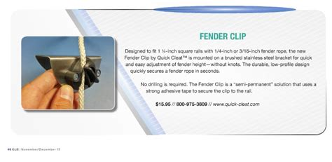 pontoon boat fender cleats fender clip in december great lakes boating magazine