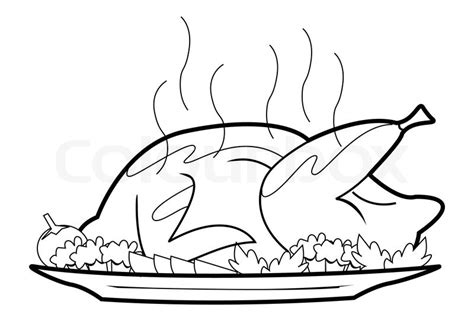 Roast Chicken Outline by Roasted Chicken Stock Vector Colourbox