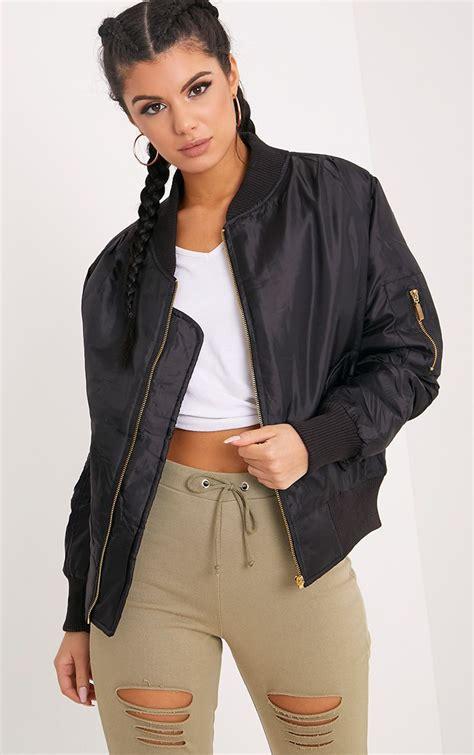 Jaket Inv Bomber Simple Black bomber jackets bomber jackets prettylittlething usa