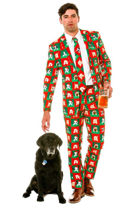 xmas pattern suit puppy print ugly christmas sweater suit puppy style