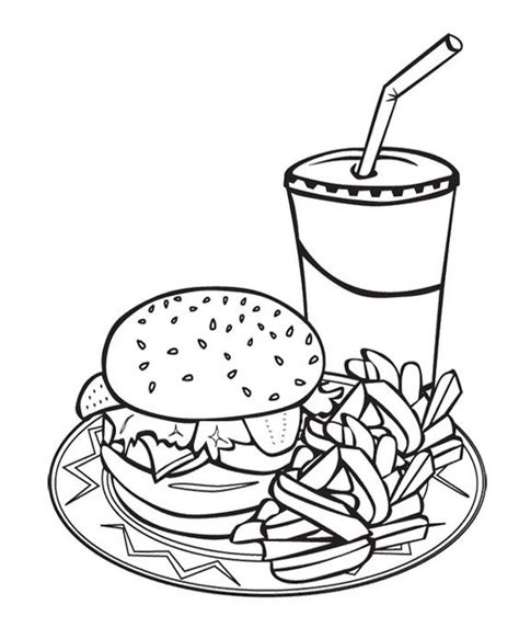 coloring pages of food and drinks printable junk food burger and drink coloring page for