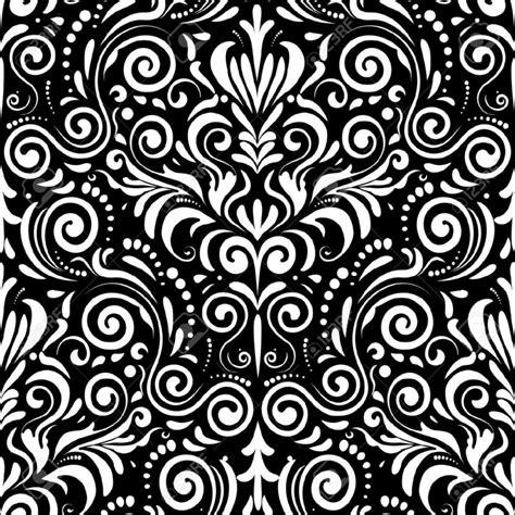 black white design simple seamless pattern with damask motifs in black and