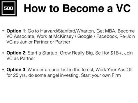 Working In Venture Capital Post Mba by How To Become A Vc