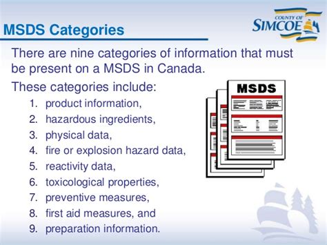 msds sections canada 2014 county of simcoe whmis presentation