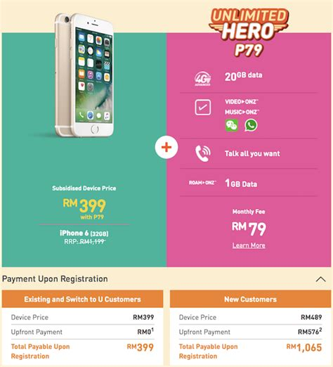 u mobile offers the iphone 6 for rm599 on a rm50 unlimited postpaid plan soyacincau