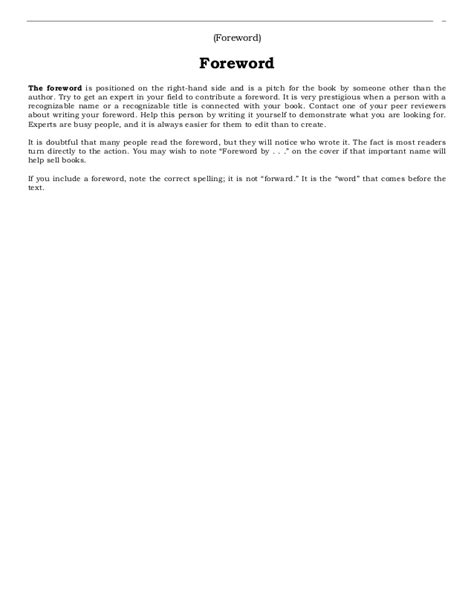 book layout forward p 47 wn book writing layout template