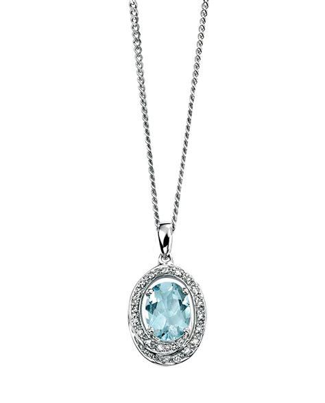 9ct white gold aquamarine and pendant necklace