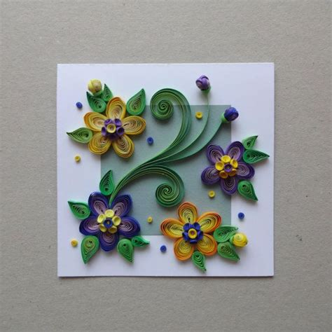 quilled paper handmade greeting card with 3d flowers by