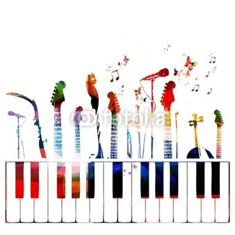 colorful music instruments background wall mural music