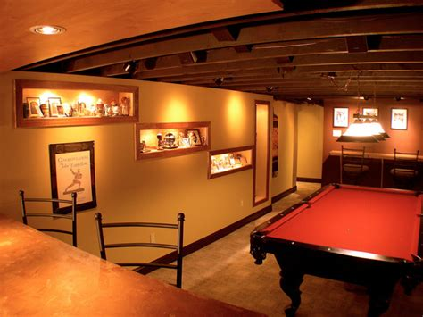 sports themed cave traditional basement