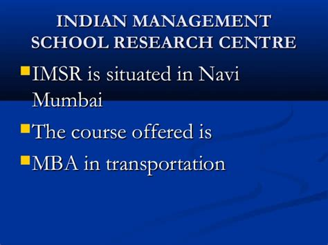 Imsr Mba by Career Guide In Transportation Sector