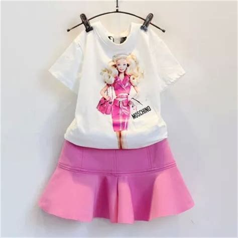 Kido T Shirt Set Anak 2015 new summer sleeve white doll print t shirt pink skirt children